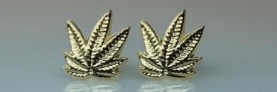 Marihuana 14 karat Guld øreringe forfra