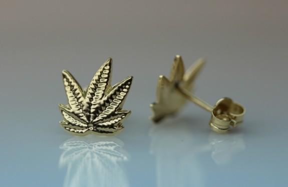 Marihuana 9 karat Guld øreringe
