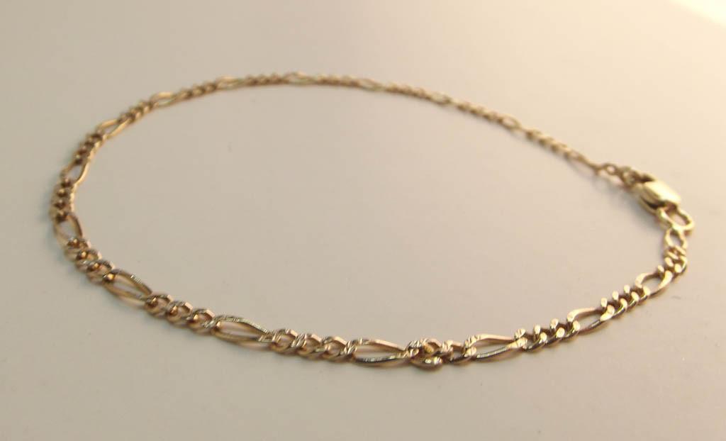 Figaro Guld Armbånd 14 karat 19.5cm 2.4mm 2gr (3)