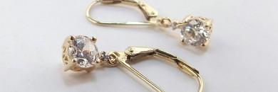 Guld øreringe med diamanter zikoner 8 karat brugte og billige