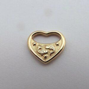 Fiskens stjernetegn hjerte medallion 8 karat guld