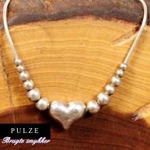 Unika Slangekæde med hjerte og kugler i Sterling sølv