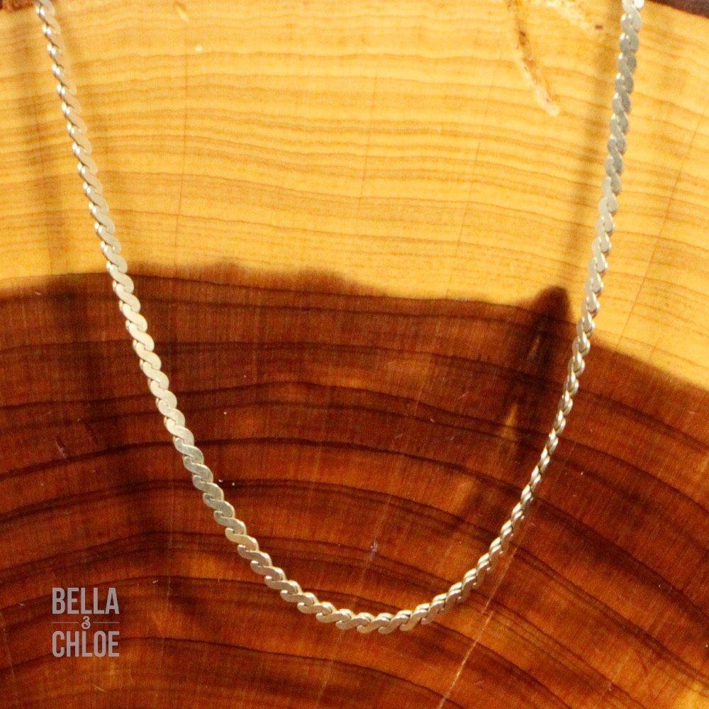 Flad serpentinkæde i Sterling Sølv - forgyldt med 14 karat guld