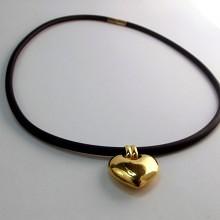 Halssmykke guld halsring med hjerte 8 karat guld halskæde brugt salg
