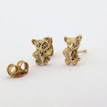 Ørestikker med katte guld øreringe til børn