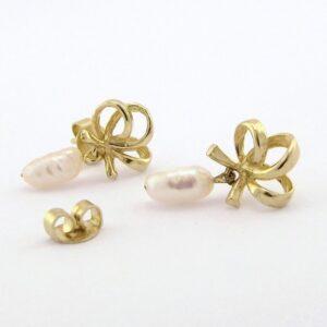 Guldøreringe med ægte perler  