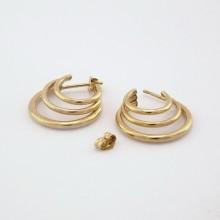 Guld kreoler triple øreringe til kvinder i 8 karat guld (5)