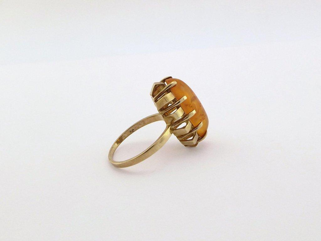 Vintage Guldring med rav 8 karat
