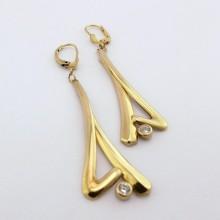 Store guldøreringe med zirkon - brugte guld øreringe i 8 karat til salg