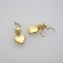 Brugte Guldøreringe med hjerter. Billige 8 karat guld øreringe med hjerte vedhæng