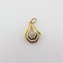 Guld vedhæng med brillant. Brugt og billigt diamant vedhæng i 8 kt