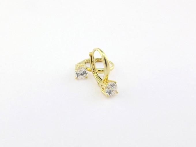 Guld Øreringe med zirkonia sten til salg