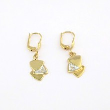 Guld øreringe med hjerte vedhæng