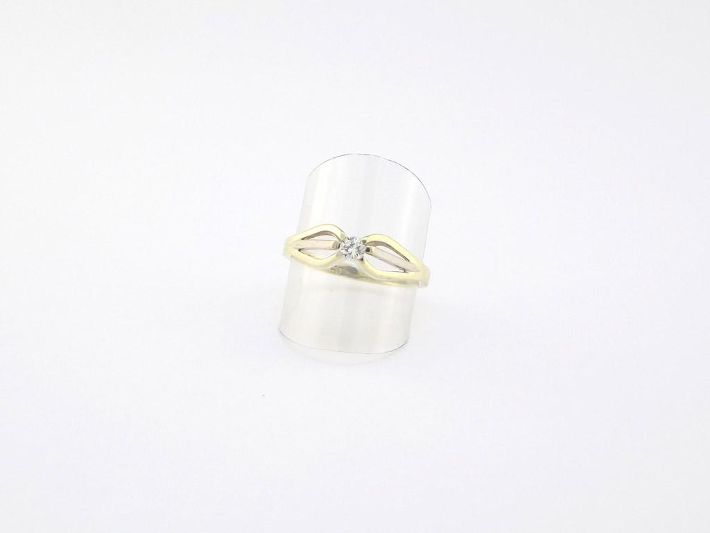 Solitaire brillant ring 14 karat med 0.13ct diamant til salg. Billig solitairering sælges brugt