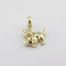 Brugt Guld kat vedhæng med diamanter. Billigt guldvedhæng med sød kat i 585 14 karat guld (4)