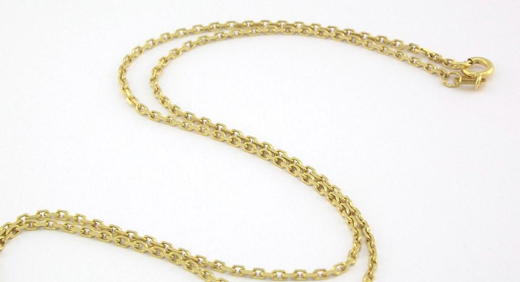b1d42031ac1 Brugt ankerkæde i guld med fjederlås. Billig Guld halskæde til kvinder i  ankerkæde design