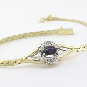 14 Karat guld armbånd med Safir & Diamanter
