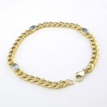 Guld armbånd med Aquamariner. Brugt guld armbånd til salg
