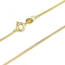 Slangekæde med fjederring i 14 karat guld 0,9mm. Guld halskæde slangekæde