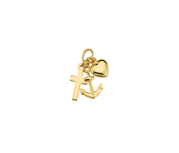 Gave til barnedåb. Guld vedhæng med tro håb og kærlighed. Guldsmykke til dåbsgave