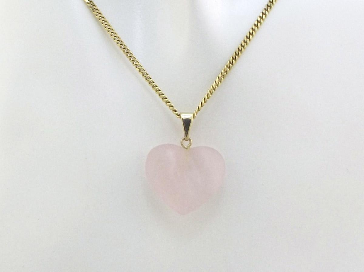 Rosa Quartz hjerte med 8 karat guld vedhæng Brugt guld vedhæng