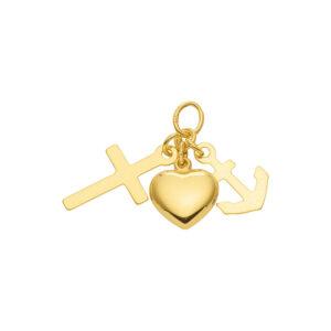 Tro håb og kærlighed vedhæng 8 karat guld - guldvedhæng kors anker og hjerte 333 karat guld