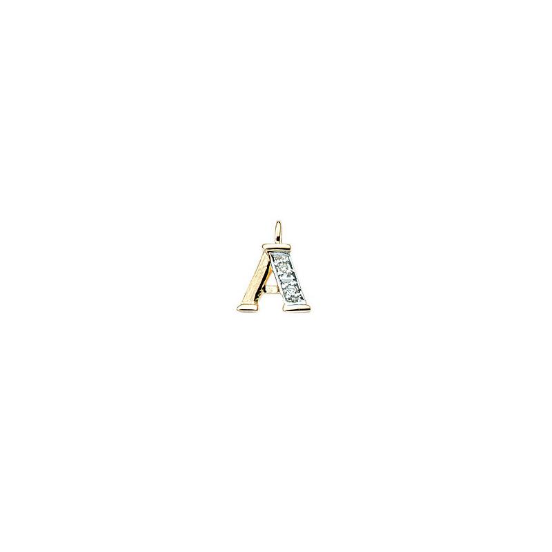 224-001 A Guld Vedhæng bogstav brillanter 14 karat - Køb bogstav halskæde A i guld billigt