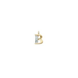 224-002 B Guld Vedhæng bogstav brillanter 14 karat - Køb bogstav halskæde B i guld billigt