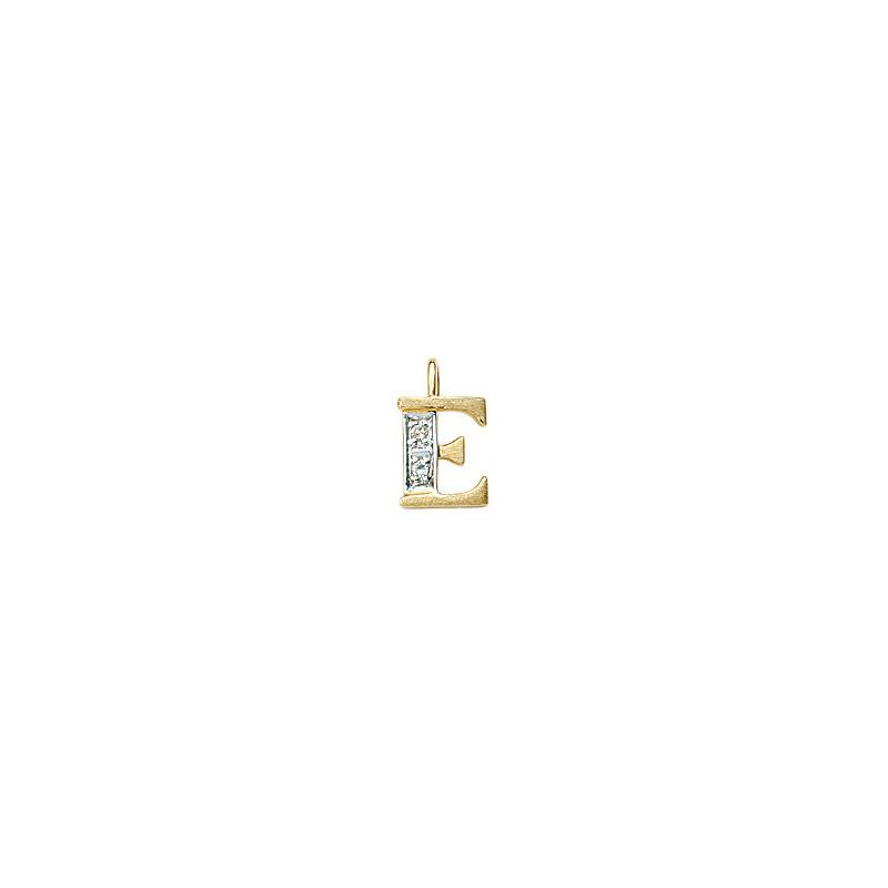 224-005 E Guld Vedhæng bogstav brillanter 14 karat - Køb bogstav halskæde E i guld billigt