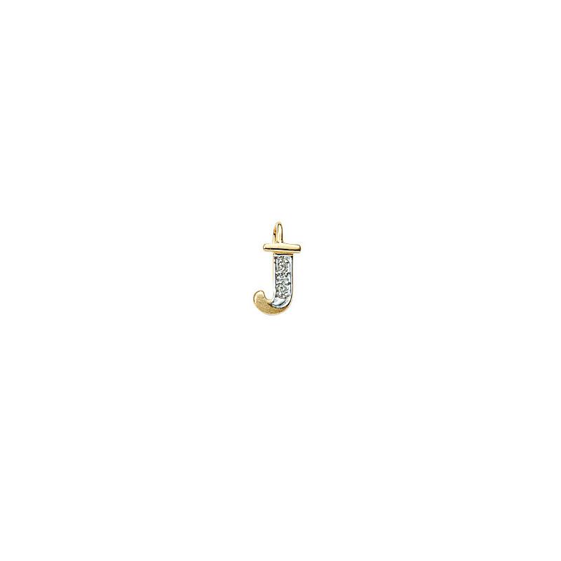 224-010 J Guld Vedhæng bogstav brillanter 14 karat - Køb bogstav halskæde J i guld billigt
