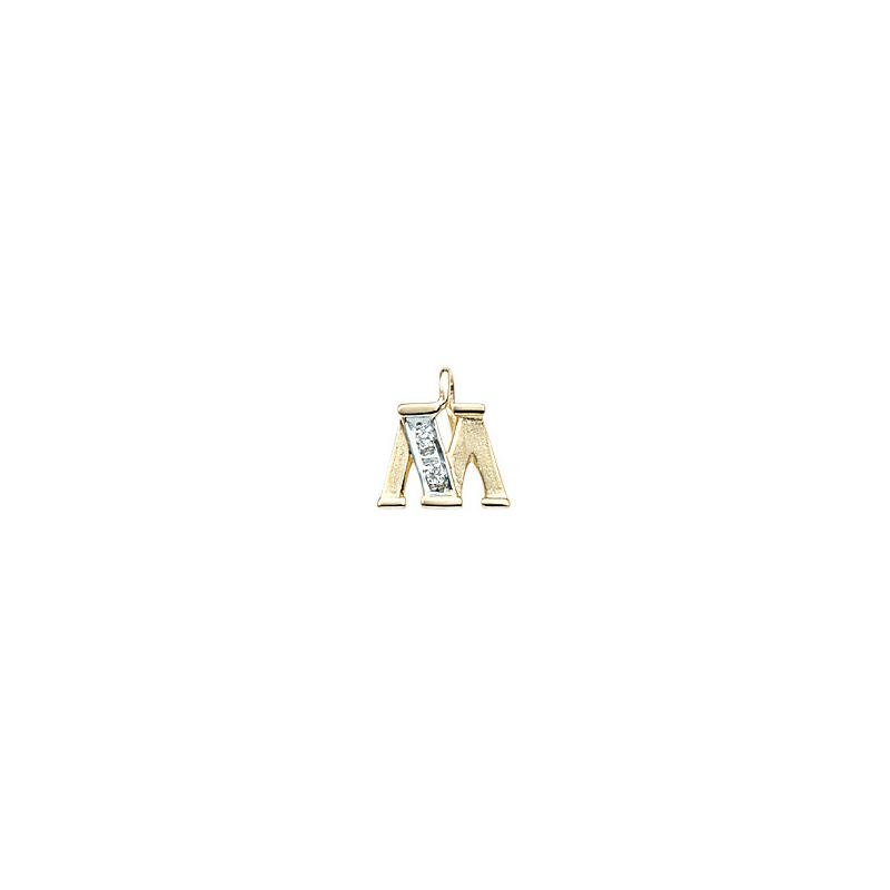 224-013 M Guld Vedhæng bogstav brillanter 14 karat - Køb bogstav halskæde M i guld billigt