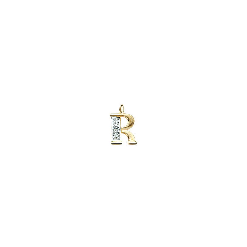 224-018 R Guld Vedhæng bogstav brillanter 14 karat - Køb bogstav halskæde R i guld billigt