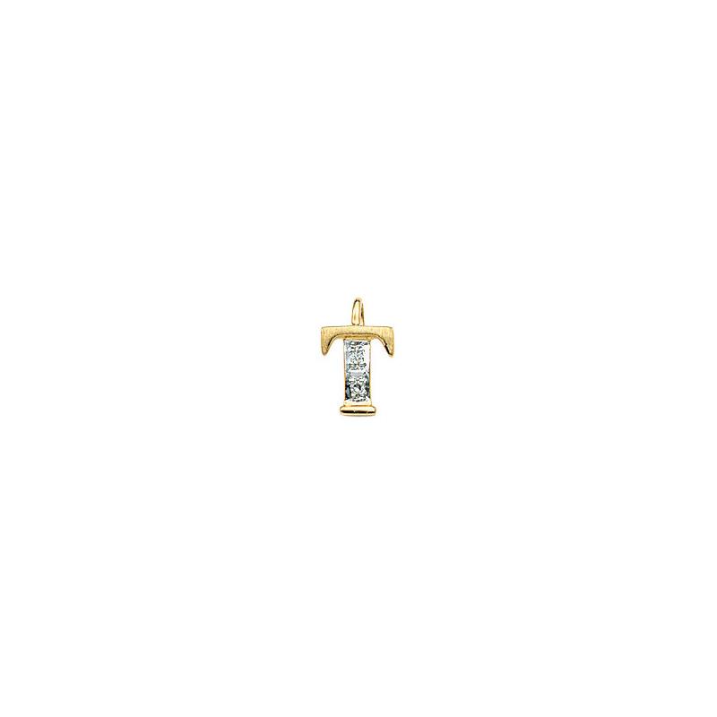 224-020 T Guld Vedhæng bogstav brillanter 14 karat - Køb bogstav halskæde T i guld billigt