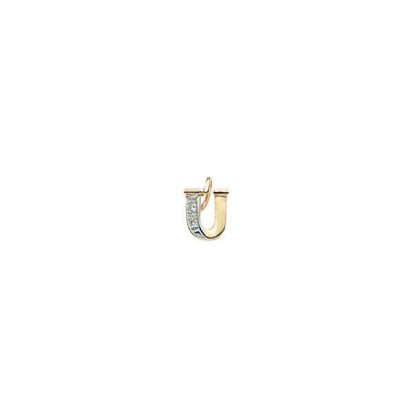 224-021 U Guld Vedhæng bogstav brillanter 14 karat - Køb bogstav halskæde U i guld billigt