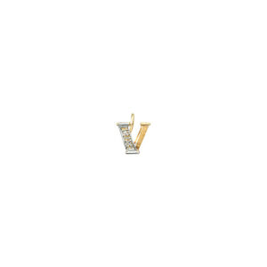 224-022 V Guld Vedhæng bogstav brillanter 14 karat - Køb bogstav halskæde V i guld billigt