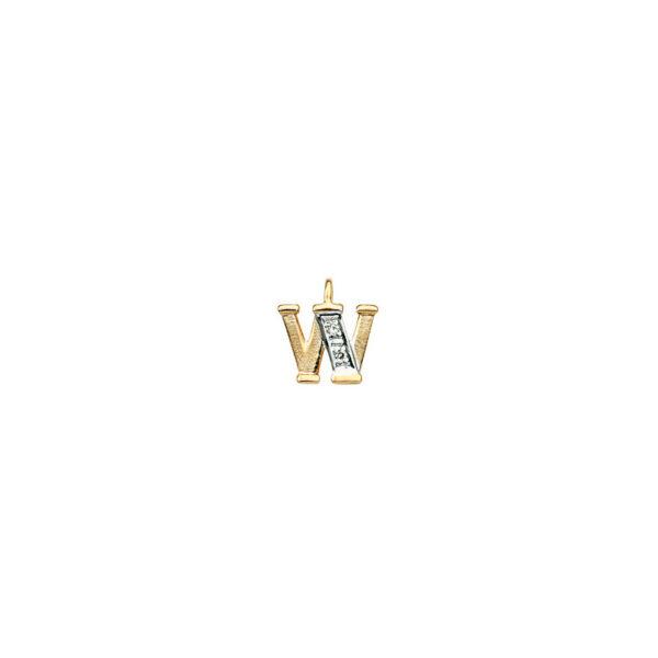224-023 W Guld Vedhæng bogstav brillanter 14 karat - Køb bogstav halskæde W i guld billigt