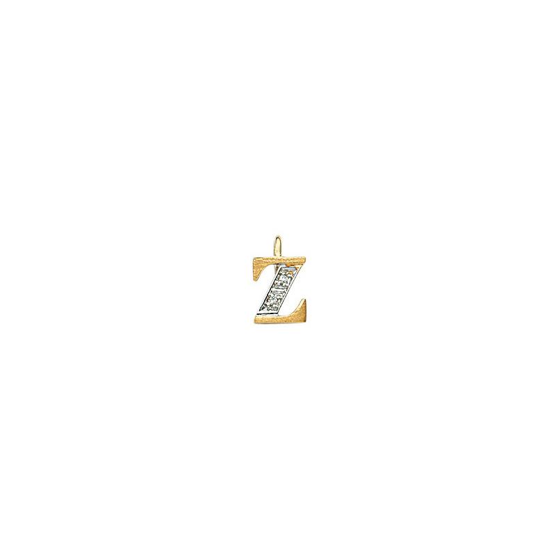 224-026 Z Guld Vedhæng bogstav brillanter 14 karat - Køb bogstav halskæde Z i guld billigt