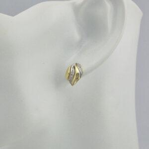 14 karat brillant guld øreringe Brugte guld ørestikkere med diamanter