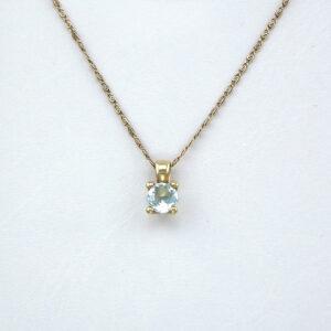 Blå Topas guld vedhæng - rundt Brugt guld vedhæng til salg