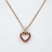 Guld hjerte vedhæng med rubiner. Brugt guld vedhæng til salg