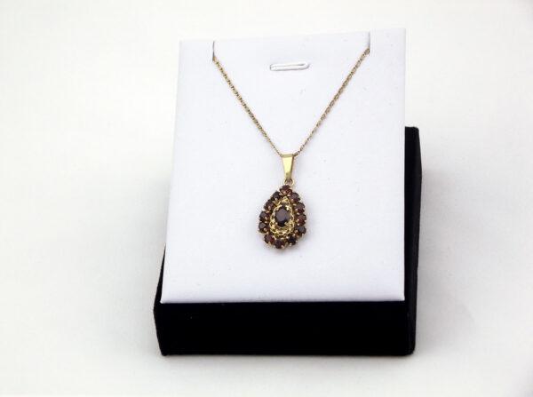 Vintage granat vedhæng i 8 karat, brugte vintage smykker til salg