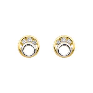 Guld øreringe med sten i cirkel design - ørering m. hvide sten