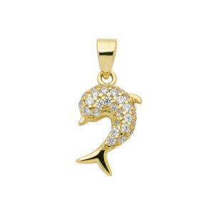 Delfin guld vedhæng med hvide sten - Guld vedhæng delfin
