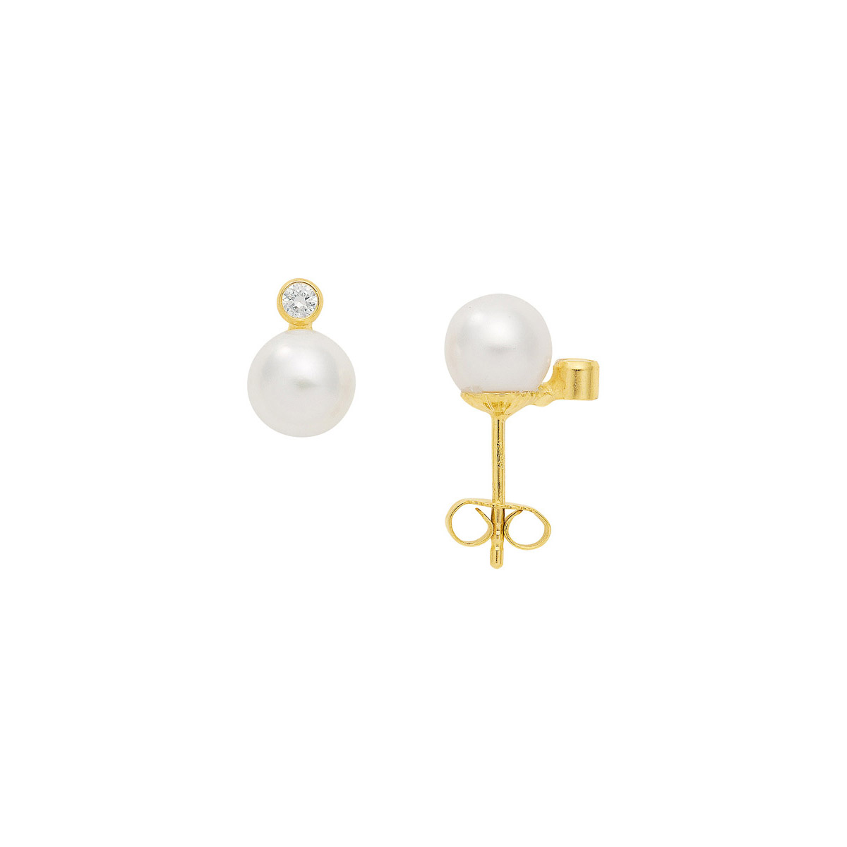 Perleørering med zirkon - Billig Ørestikker med perler til salg