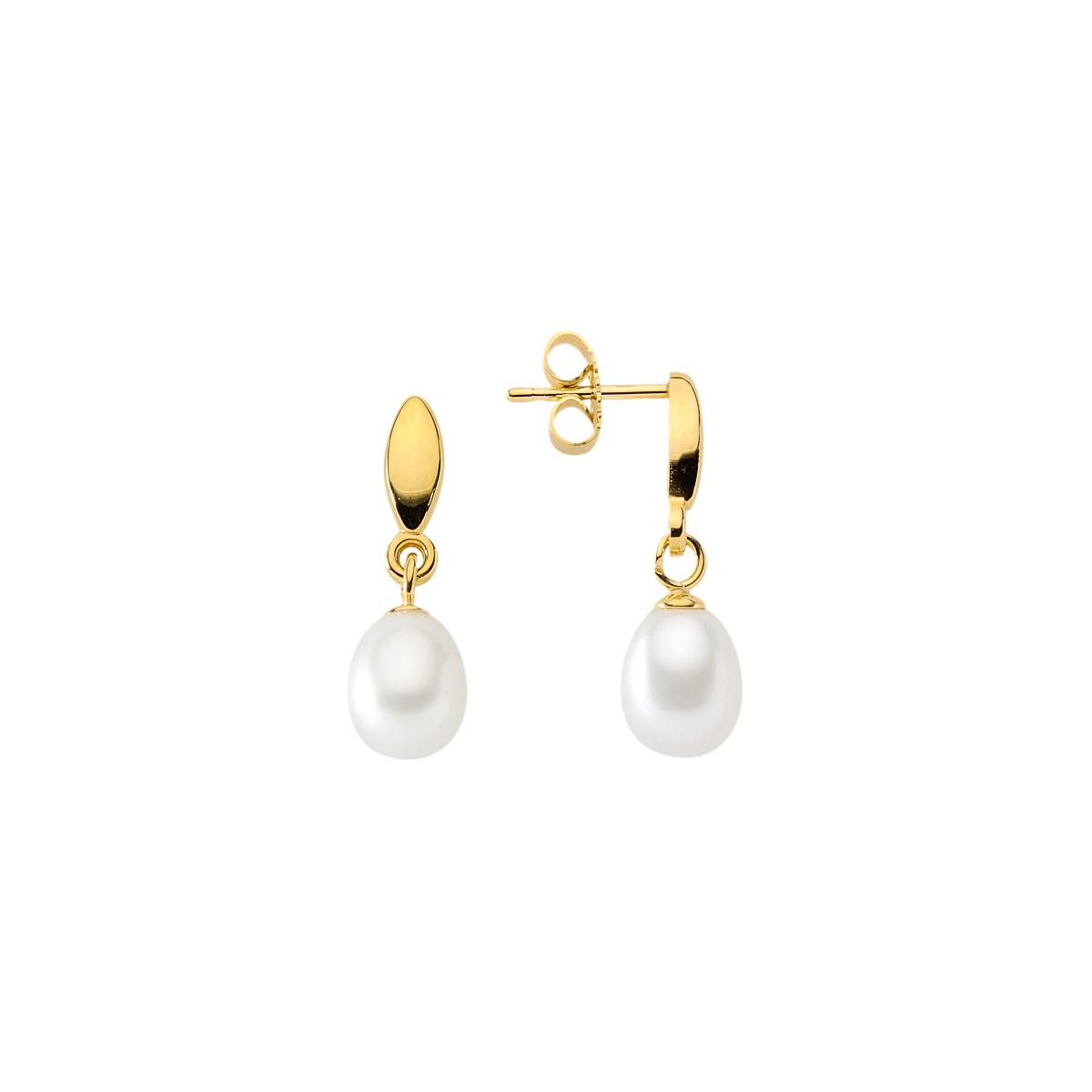 Perleøreringe. Billige guld øreringe med perler til salg. Perle ørestikker