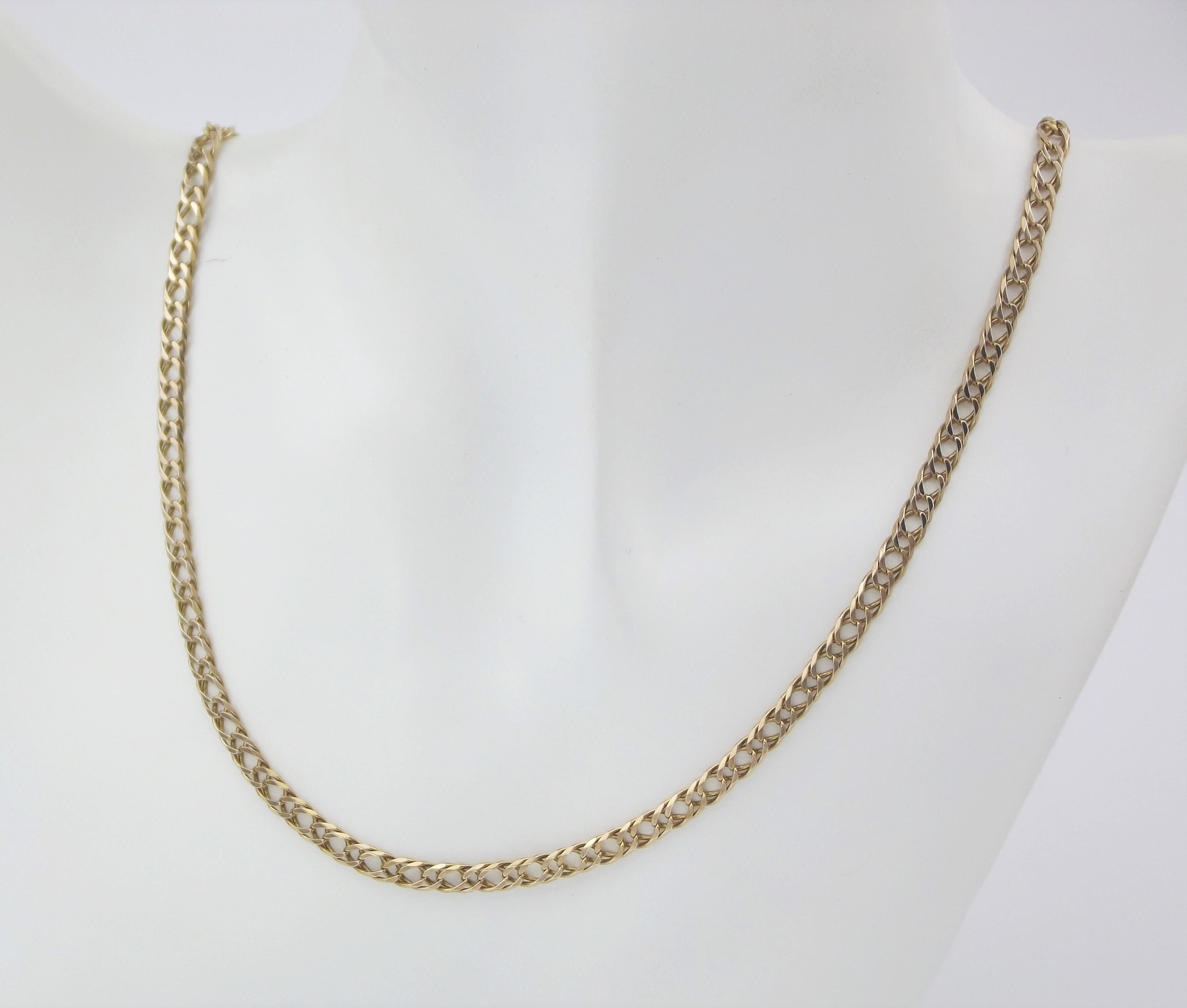Dobbelt panserkæde guldhalskæde brugt til salg. Billig Panser halskæde sælges (2)