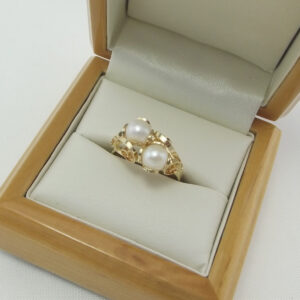 Perlering 14 Karat guld med filigran i Juveller kvalitet til salg