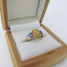 Billig Guldring med Opal og Tanzanite i 9 karat guld, billige guldringe