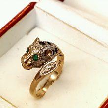 Leopard guldring med Smaragder & Safirer i 14 karat til salg.