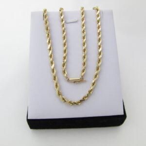 14 Karat Guld halskæde - snoet rebkæde i massiv udførsel.